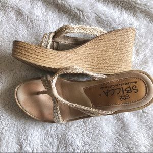 Sbicca natural thong woven wedge rhinestone 6